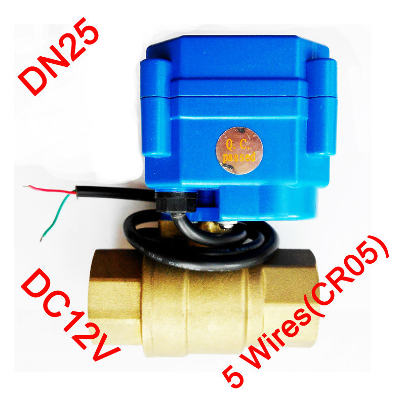 "1"" Brass electric control valve, DC12V morotized valve 5 wires (CR05), DN25 Mini Electric valve with signal feedback"