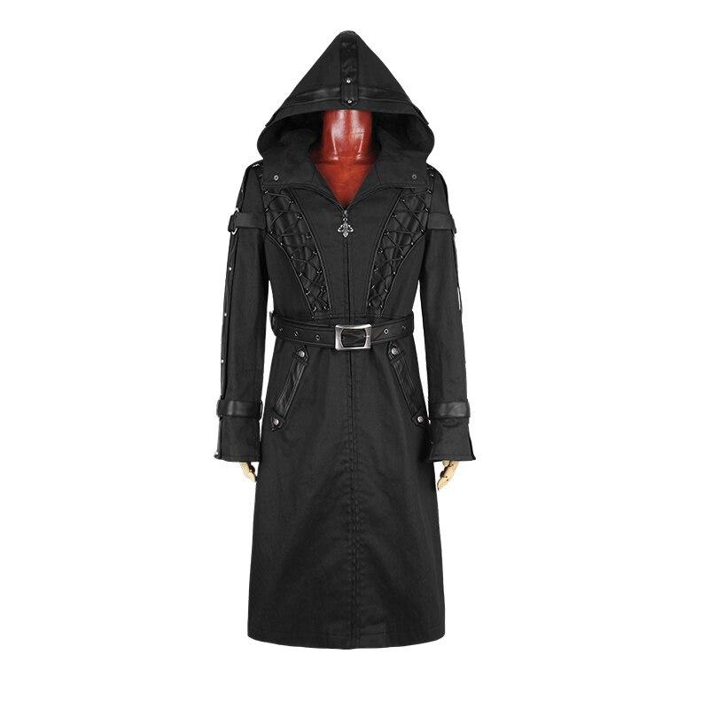 Стимпанк готический Для мужчин куртка с капюшоном черный тонкий с капюшоном на молнии с карман Разделение Толстовка и толстовка Мех животн