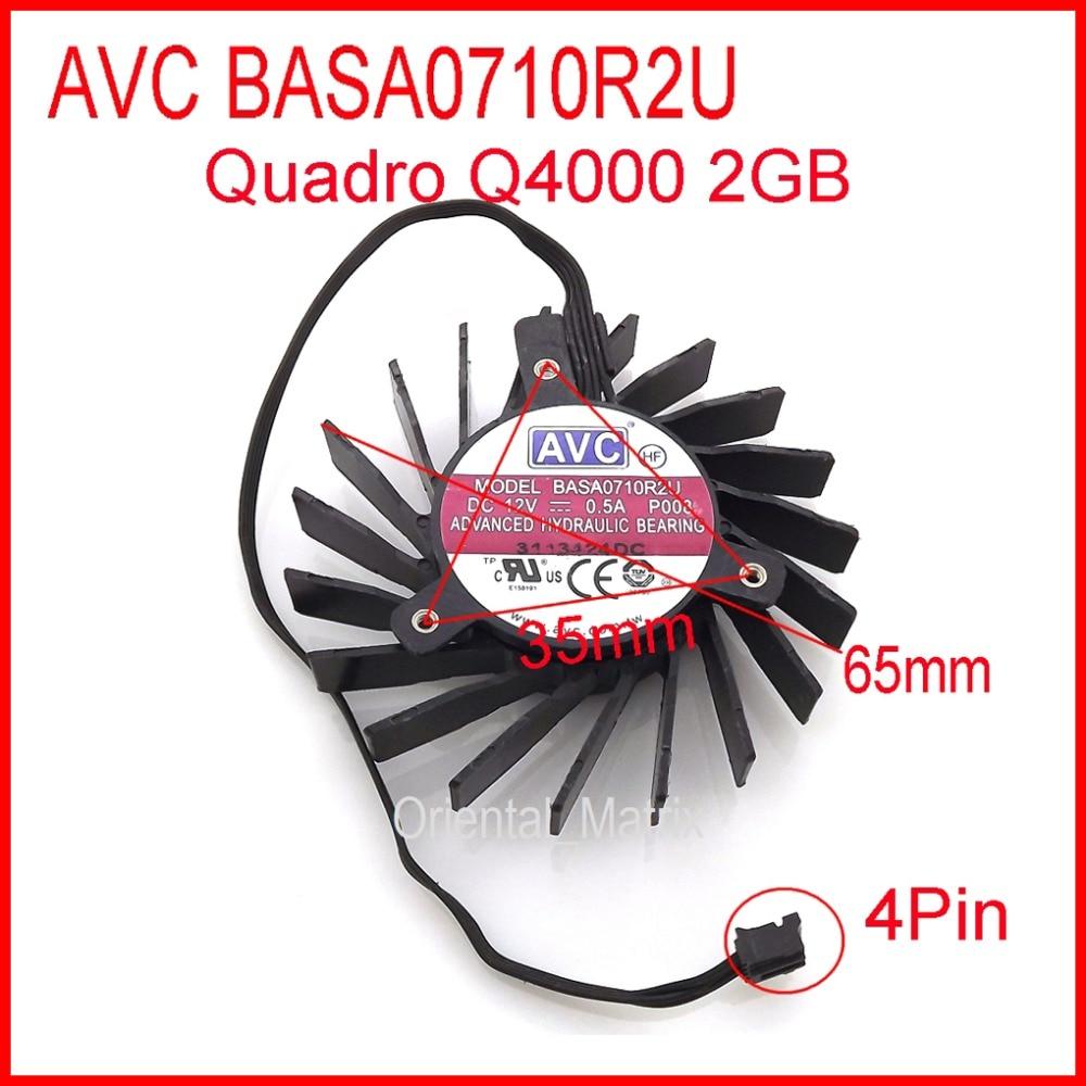 Free Shipping NEW BASA0710R2U DC12V 0.5A 35x35x35mm 4Wires 4Pin For Quadro Q4000 2GB Cooler Cooling Fan