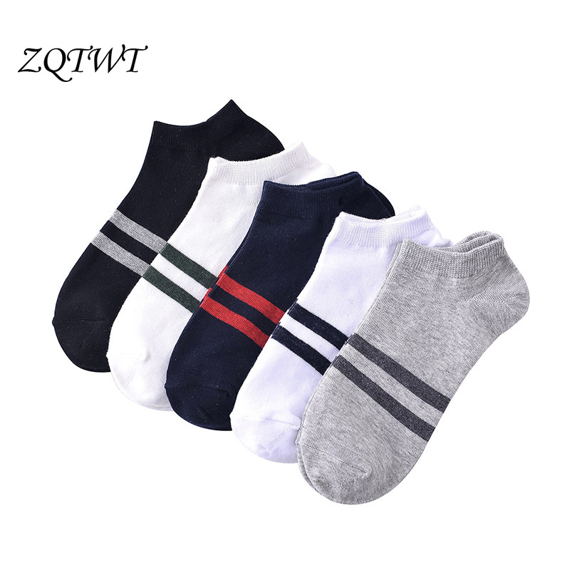 ZQTWT 5Pair/Lot Fashion Mixed Colors Men Ankle Socks Casual Striped Socks Short Man Summer Breathable Cotton Socks Mens 3WZ067