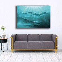 Canvas Prints Pictures For Living Room Wall Art 1 Piece Underwater Ancient Animals Painting Home Decor Dinosaur Crocodile Poster(China)