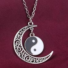 цена на Crescent Moon & Black White Enamel YIN YANG Pendants Necklaces Alloy Charms Vintage Antique Silver Jewelry Gift New