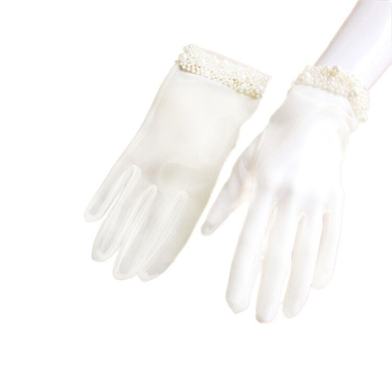Summer White Wedding Gloves Bow Lace For Bridal Evening Prom Wedding Accessories