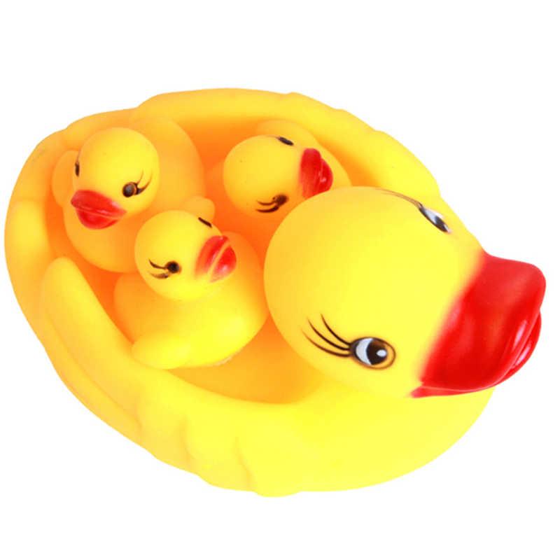 4 шт. желтые резиновые утки Bathtime Squeaky мальчики и девочки игрушки для ванной Play Детские игрушки для малышей 12 см * 5 см * 7 см
