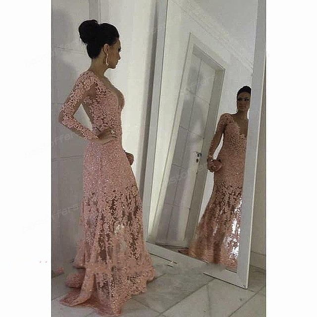 Sexy Pink One shoulder sheer lace evening gowns with long sleeve slim fit  party prom dresses 2016 fashion skirt GL ead2f1e9dd61