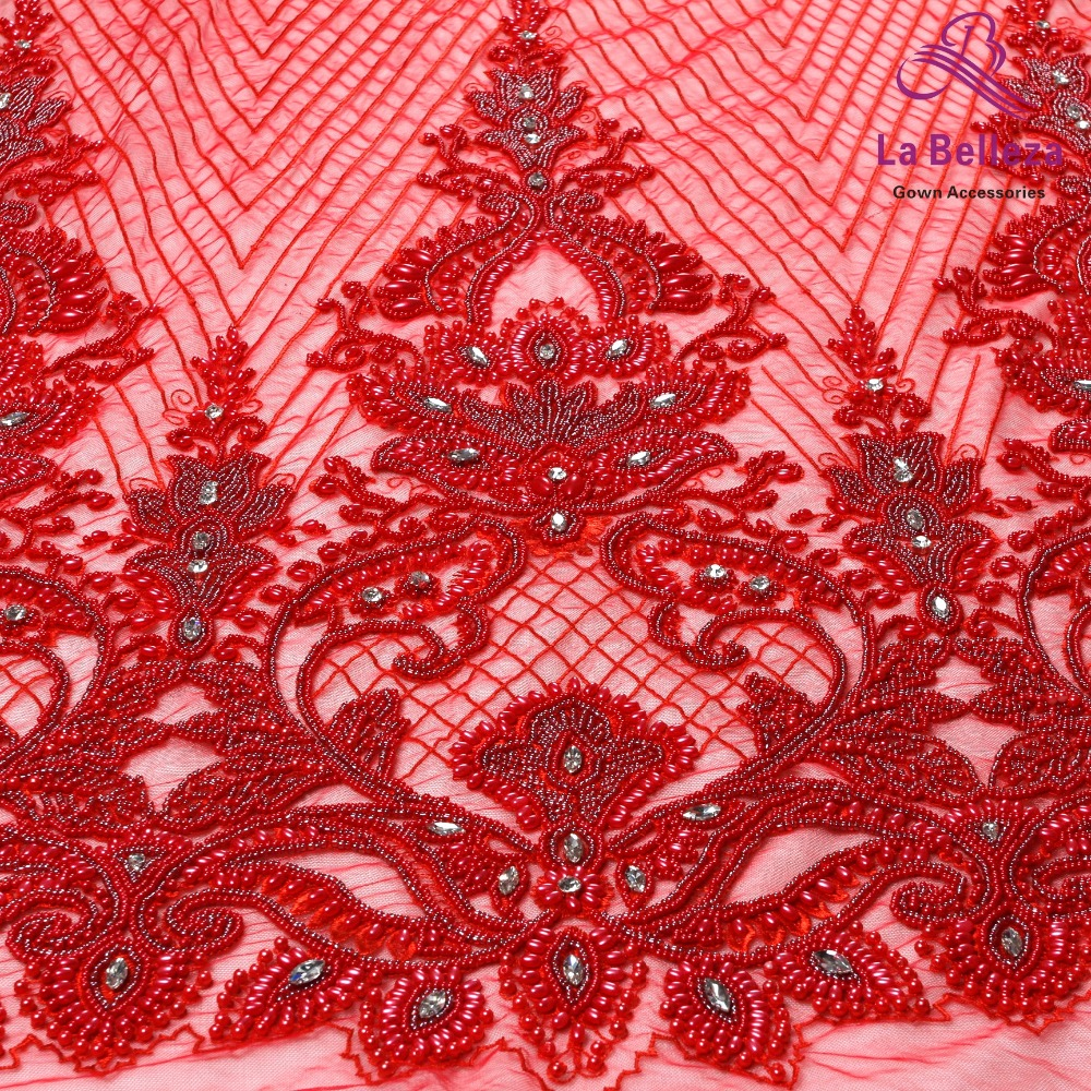 La Belleza 1 yard heavy handmade beaded lace fabric crystal lace Red/Navy/ivory/gold wedding dress lace fabric 49'' width-in Lace from Home & Garden    1