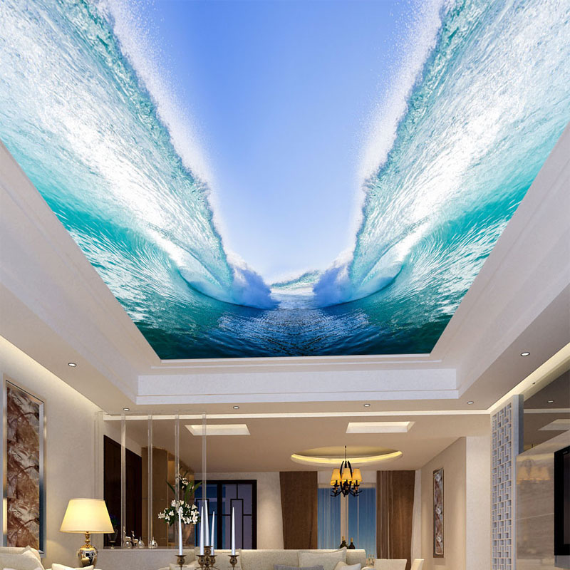 Custom Any Size 3D Wall Mural Wallpaper Seawater Huge Waves Bedroom Living Room Sky Suspended Ceiling Decor Painting Wallpaper custom 3d stereo ceiling mural wallpaper beautiful starry sky landscape fresco hotel living room ceiling wallpaper home decor 3d