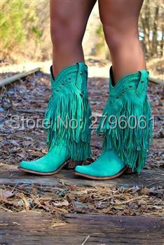 Bohemia Style Gladiator Women Mid-calf Low Heel Motorcycle Boots Fringed Cowboy Boots Sh ...