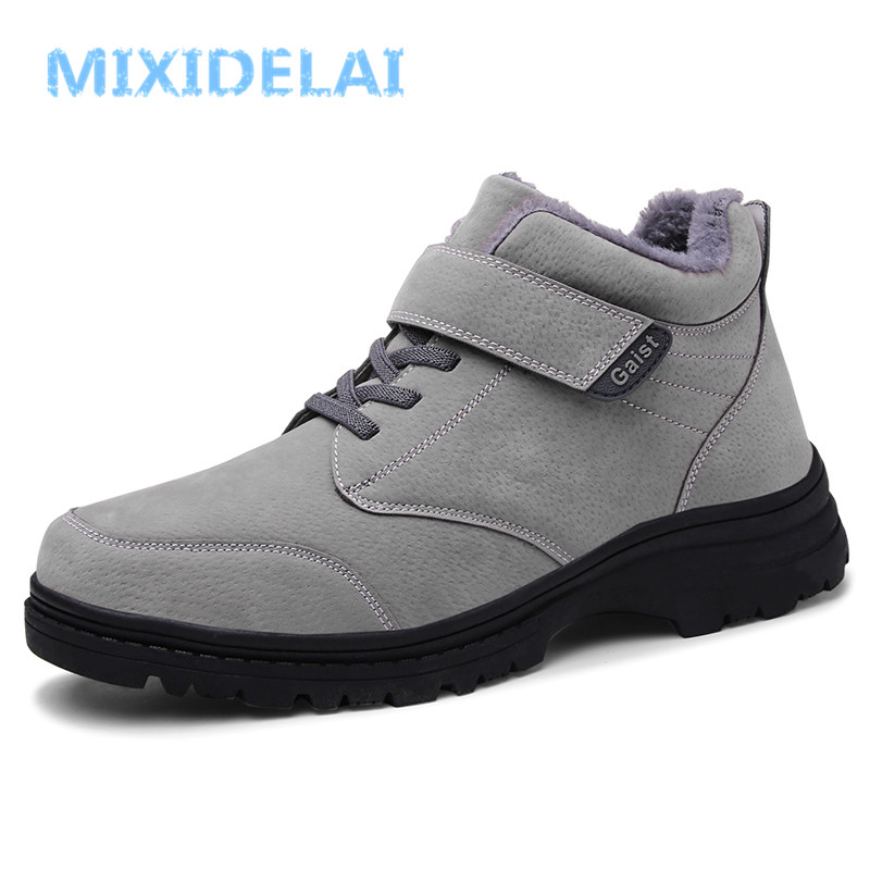 New Genuine Leather Ankle Boots Winter Warm Fur Snow Boots Male Shoes Adult Sneakers For Men Casual waterproof Walking Footwear 2018 winter fur warm male high top shoes adult flock sneakers men designer shoes casual flat plush walking brand footwear