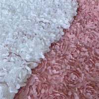 1 Yard Dusty Pink/White 3D Chiffon Flower Lace Fabric With Rosette For Wedding Dress, Bridal Gowns, Home Decor, 135CM Wide
