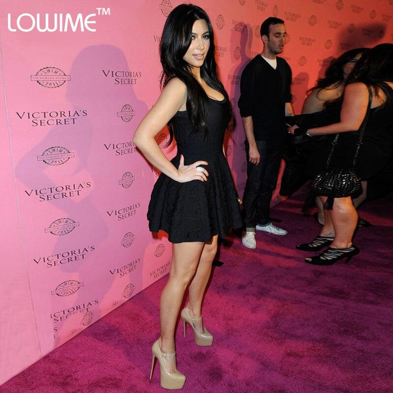 Sexy Red Carpet vestido de alta costura negro Kim Kardashian vestido ...