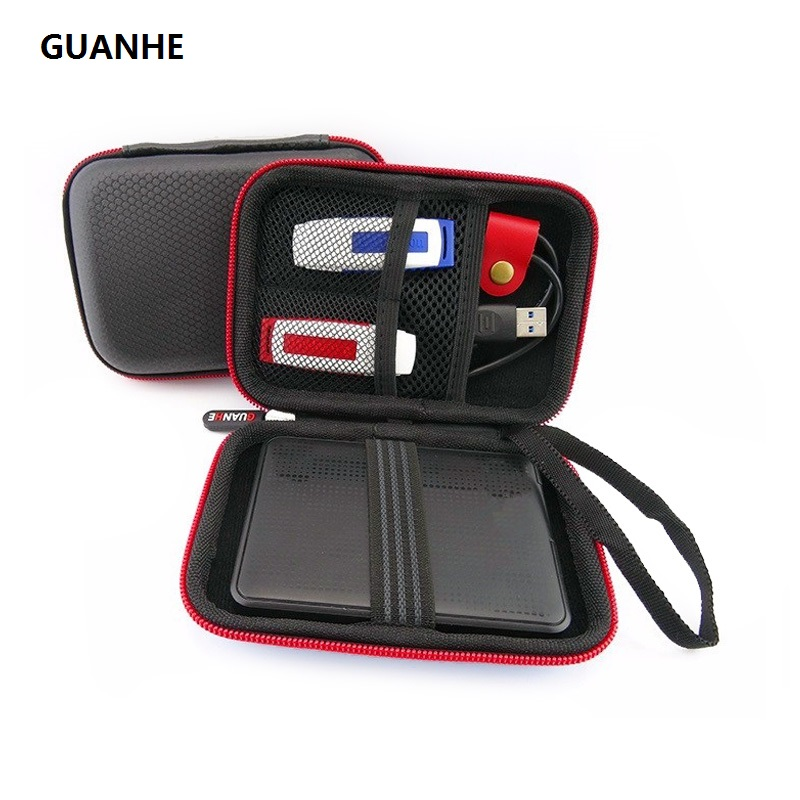 GUANHE New Carrying Case Bag for WD My Passport Ultra seagate 500GB 1TB Portable External Hard Drive HDD bag spark storage bag portable carrying case storage box for spark drone accessories can put remote control battery and other parts