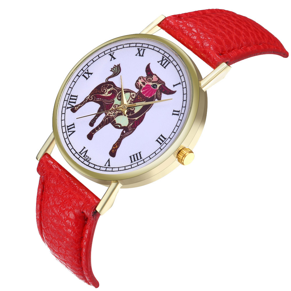 Fashion Taurus Simple Watche Leather Strap Round Campus Women Watch Silicone relojes mujer marca de lujo 2019 For dropshipping