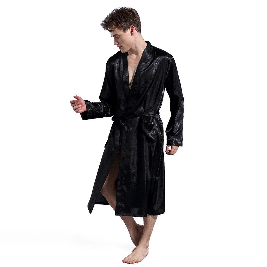 Men Lounge Sleepwear Faux Silk Nightwear For Men Comfort Silky Bathrobes Noble Dressing gown Men's Sleep Robes Plus size #35