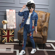 Spring Kids Casual 2016 Fashion Denim Two-piece Female Children's Clothing Girl Cowboy Suit (jacket + Jeans)