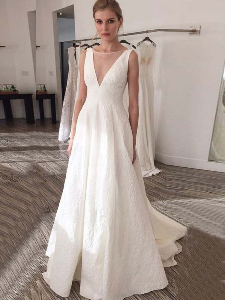 Elegant A Line Boat Neck Backless White Satin Long Wedding Dresses with Court Train Bridal Gown