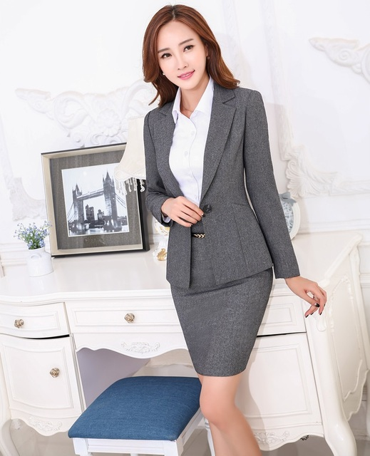 New Elegant Grey 2015 Autumn Winter Professional Business Women Work Suits Blazer And Skirt Ladies Office Blazers Outfits Set
