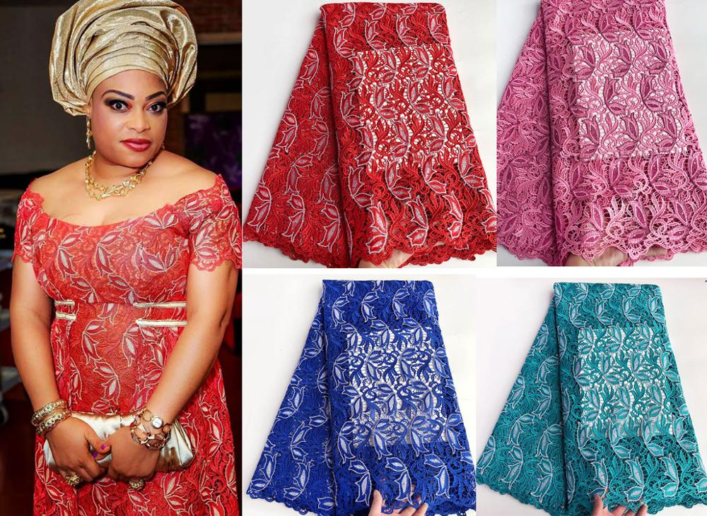 Heavy allover neat embroidery cord lace African guipure lace fabric Nigerian sewing clothes high quality 5