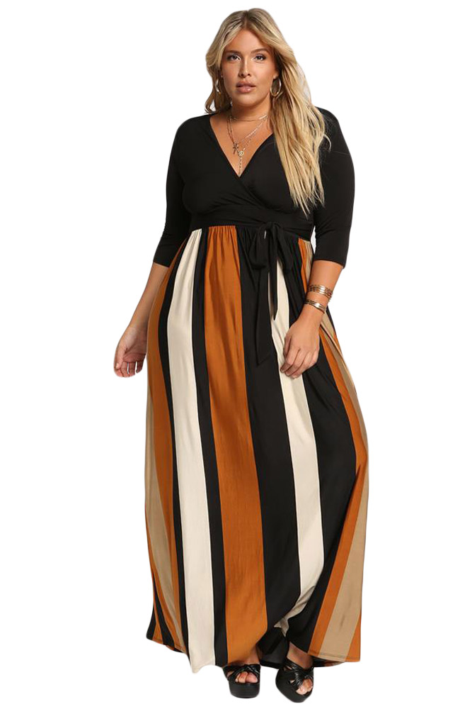 Mustard-Color-Blocked-Skirt-Plus-Size-Maxi-Dress-LC610502-7-1
