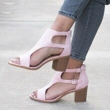 Summer Shoes Women Chunky Heels Buckles Wedge Gladiator Women Sandals