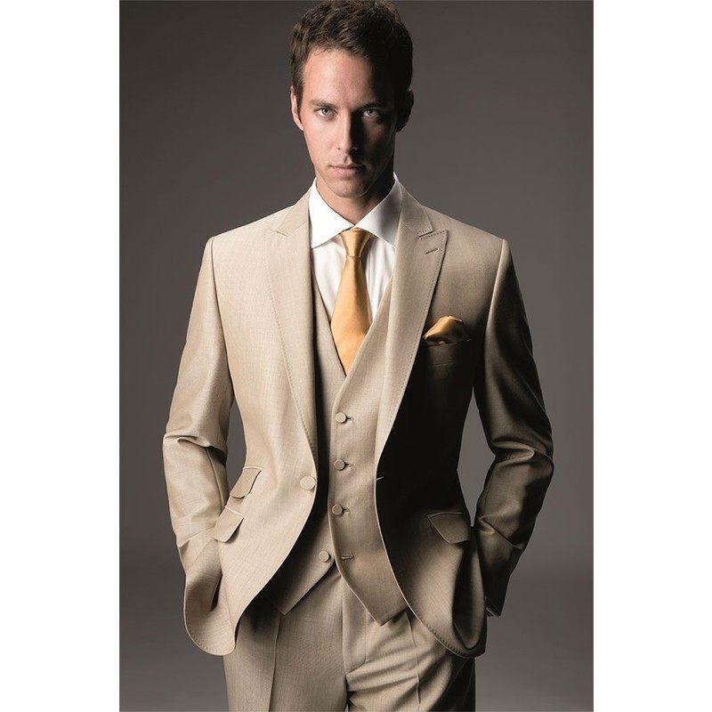 Khaki Man Normal Prom Suits Groom Tuxedos Groomsman Blazer Business ...