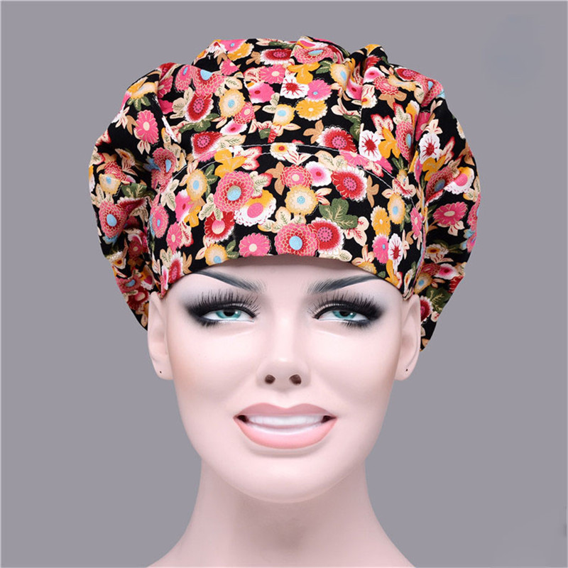 7 Colors New Chef Hat Bouffant Scrub Cap Cook Work Print Cotton One Size Adjustable Elastic Cooking Uniform Hats Cheap N004