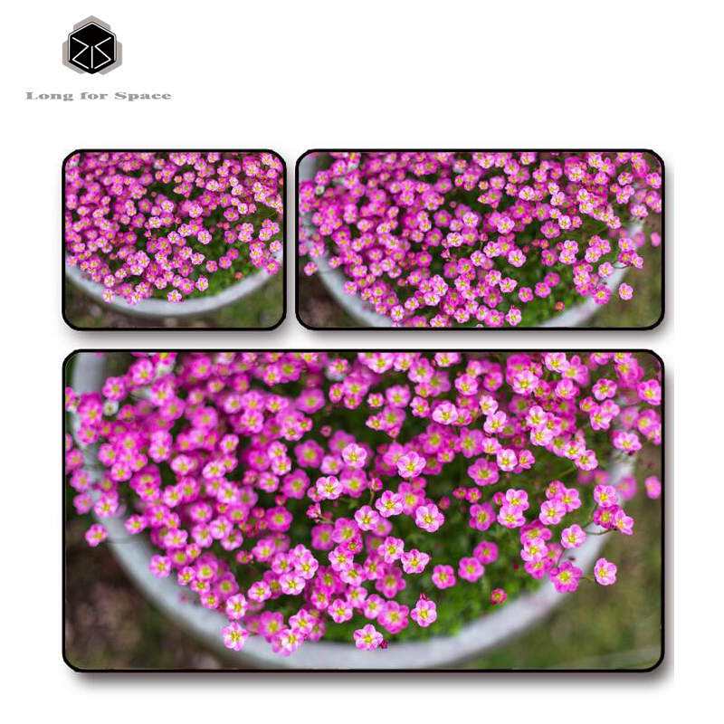 SJLUHS Pink Flower Plant Mouse Pad Lock Edge Creative Large Thickening Game Keyboard Table Mat Free Shipping