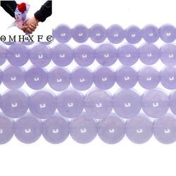 OMH оптовая продажа 6 8 10 мм Бесплатная доставка натуральный камень фиолетовый халцедон нефритовые бусины выбрать размер Ювелирное