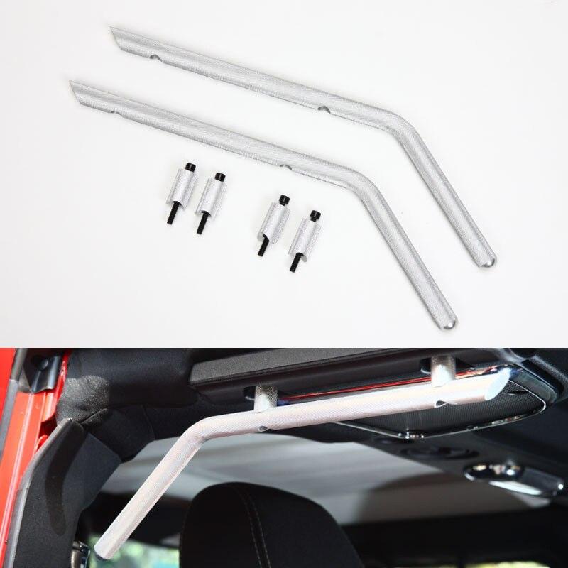 Accoudoir de barre de roulement de voiture en aluminium automatique poignée arrière barre avant latérale pour Jeep Wrangler JK 4 portes accessoires de voiture de style de voiture en argent