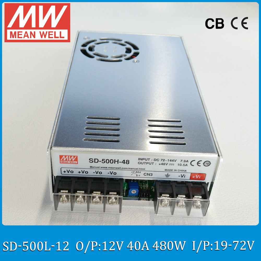 Original MEAN WELL SD-500L-12 24V to 12V converter Input 19~72VDC to 12V 500W 40A meanwell 12V isolated converter switch power for 40 sd 500 h 12 of 12v 2a well tested working