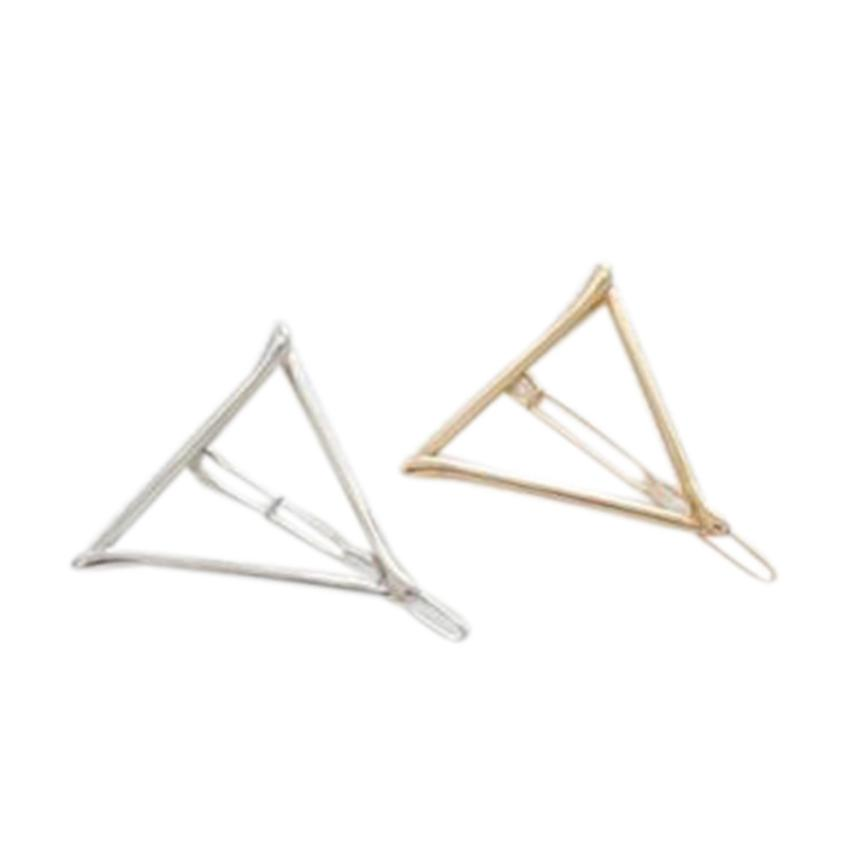 2017 New Women Vintage 2pc Minimalist Dainty Gold Silver Hollow Geometric Metal Hairpin Hair Clip Delicate Aug 10