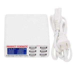 Image 1 - Di động sạc thông minh trạm 6 cổng sạc USB phẳng sạc du lịch LCD hiển thị kỹ thuật số di động dữ liệu thiết bị đầu cuối USB công cụ sạc