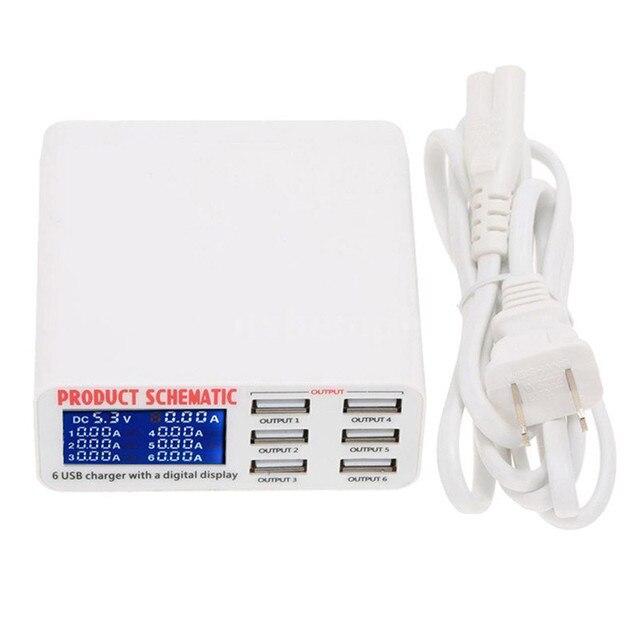 Di động sạc thông minh trạm 6 cổng sạc USB phẳng sạc du lịch LCD hiển thị kỹ thuật số di động dữ liệu thiết bị đầu cuối USB công cụ sạc