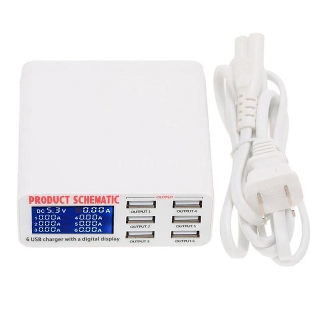 Estación de carga inteligente móvil cargador USB de 6 puertos cargador de viaje plano pantalla digital LCD terminal de datos móvil herramienta de carga USB