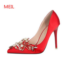Ladies Shoes Luxury Style High Heel Pointed Toe sapatos Sexy red Fashion Pumps Wedding Shoes Woman designers Party Dress Shoes все цены