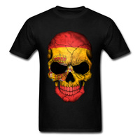 XXXL 2018 Men T Shirts Spanish Flag Skull Print Cool Family Halloween Customized Clothing Short Sleeve