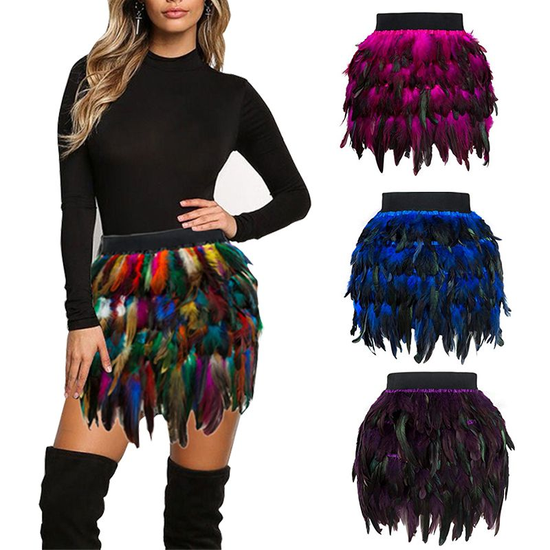 Rainbow Concise Luxury Sexy Style Fashion Women Christmas Santa Halloween Faux Feather Cosplay Mini Skirt Clothing