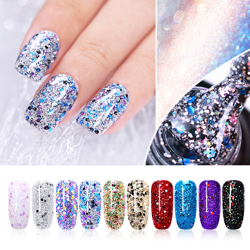 UR SUGAR 7.5ml Soak Off UV Silver Holographic Gel Laser Sequins Sparkle  Varnish Gel Nail Art Lacquer Shining Glitter Sequin DIY a28803e11439