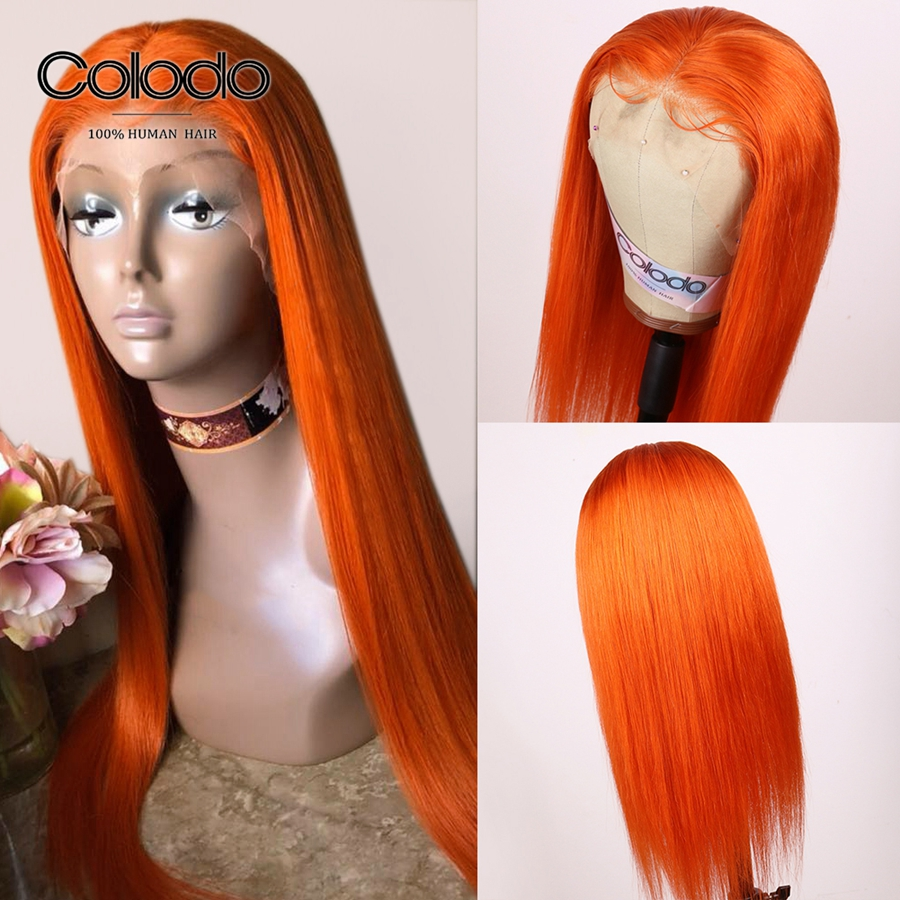 Colodo Orange Human Hair Wig 13x4 Remy Brazilian Blonde Straight Lace Front Wigs With Baby Hair Ombre Human Hair Wigs For Women