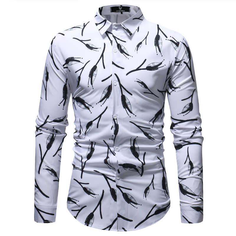Классические черные белые мужские рубашки в цветах 2018 Весна Осень Новые повседневные рубашки на пуговицах рубашки для деловых людей рубашки с длинными рукавами