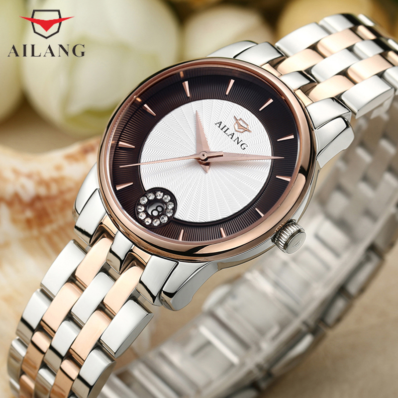 Klasyczny kobiety biznesu zegarki nakręcanie automatyczne sukienka zegarek na rękę ze stali nierdzewnej kryształy sukienka zegarek damski elegancki pani Reloj w Zegarki damskie od Zegarki na  Grupa 1
