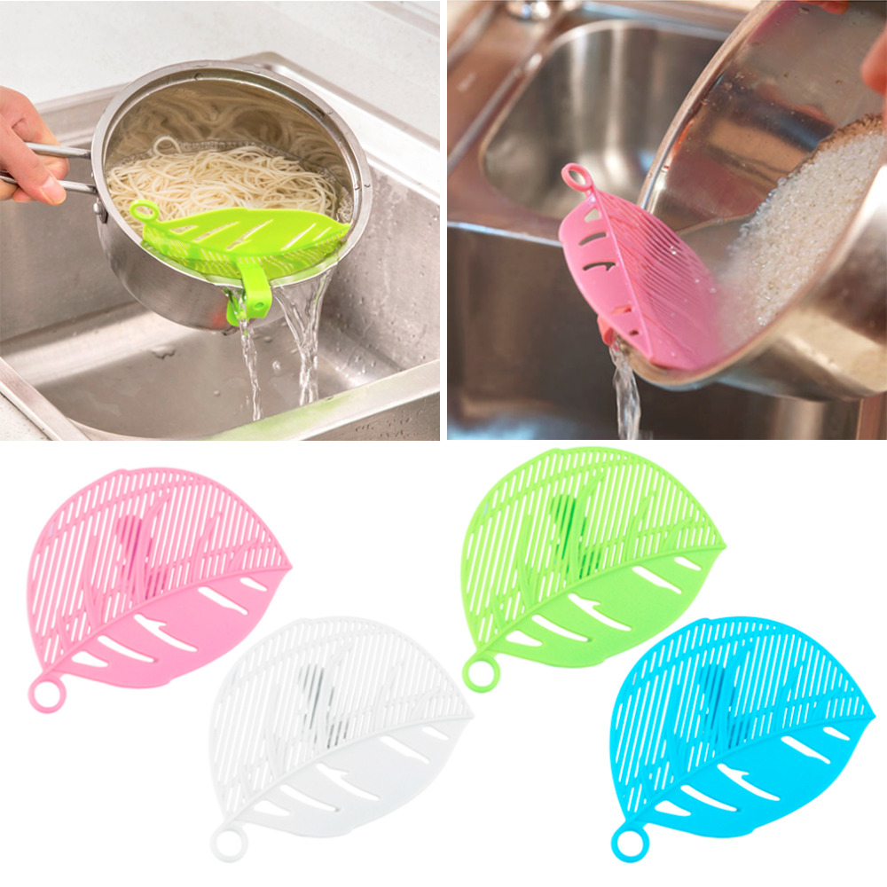 2018 Hot Sale 1PC Durable Clean Leaf Shape Rice Strainer Sieve Beans Peas Cleaning Gadget Strainer for Kitchen Clips Tools