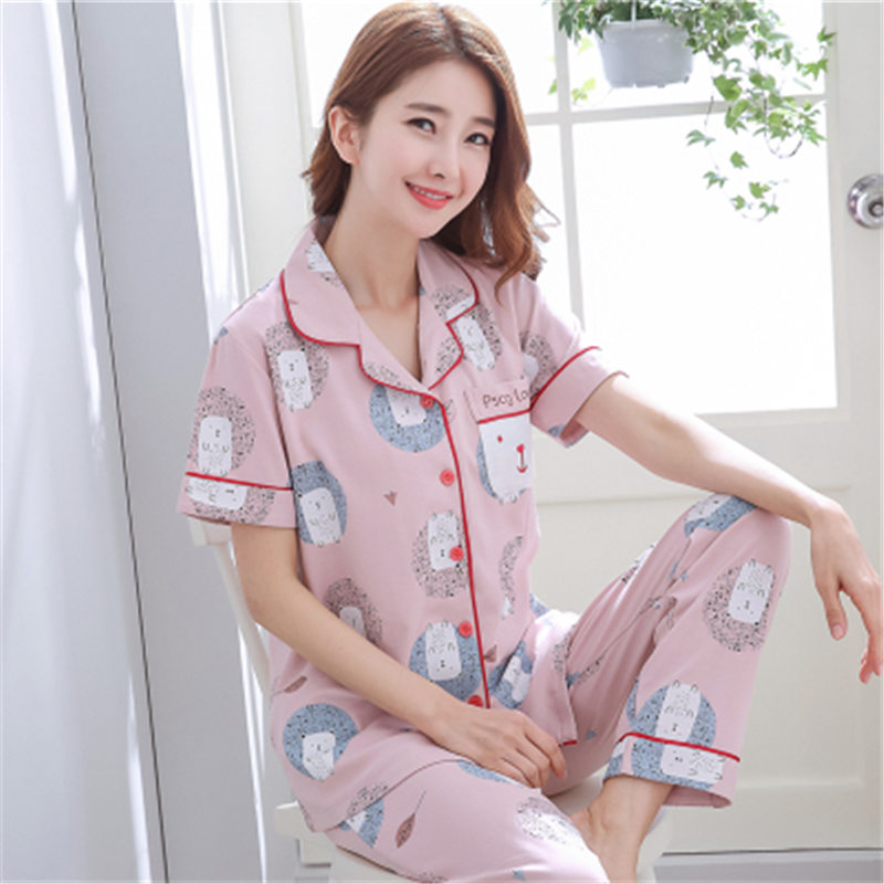 Women's 100% Pure Silk Pajamas Set Silk Sleepwear Size SM-3XL  Short Sleeve Silk Pajamas Set Two Pieces Set Women Sleepwear Sexy