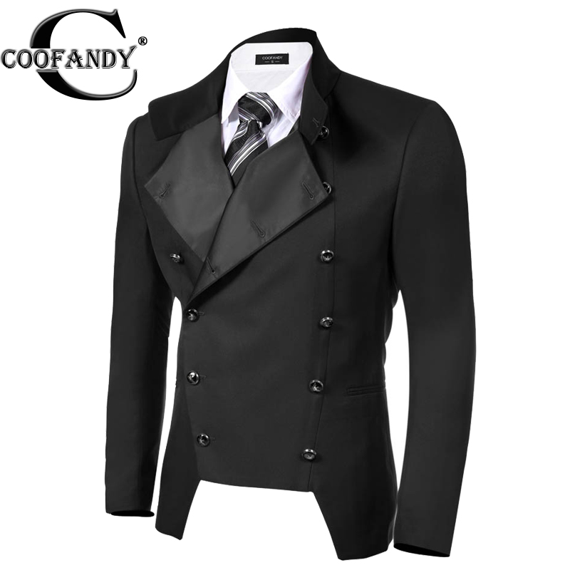 COOFANDY Suits & Blazer Outwear Stand Neck Business Double ...