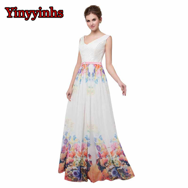 504eaae78c Yinyyinhs White Prom Dress Floral Print Vestidos V Neck Prom Dress Elegant  Chiffon Long Special Occasion