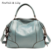 FoxTail & Lily Women Genuine Leather Handbags Luxury Quality Real Leather Shoulder Crossbody Bag Fashion Ladies Messenger Bags