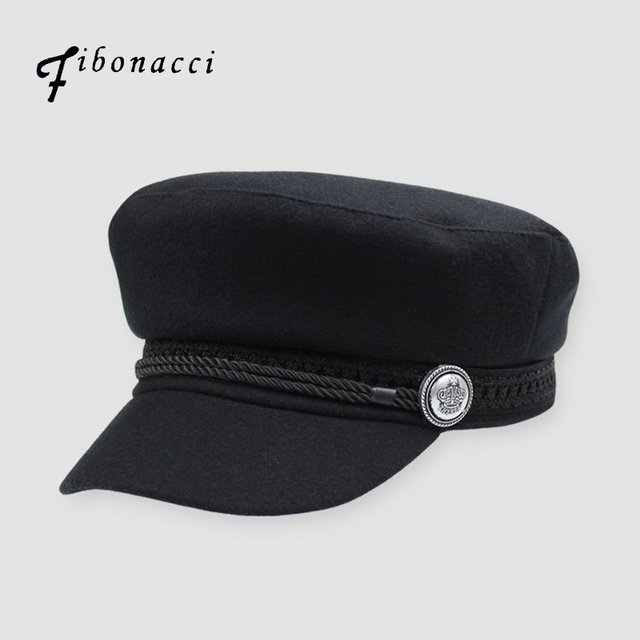 Fibonacci High Quality Black Wool Military Cap Autumn Winter Unisex Cadet  Tactical Flat Top Army Hat f3fe24d35b07