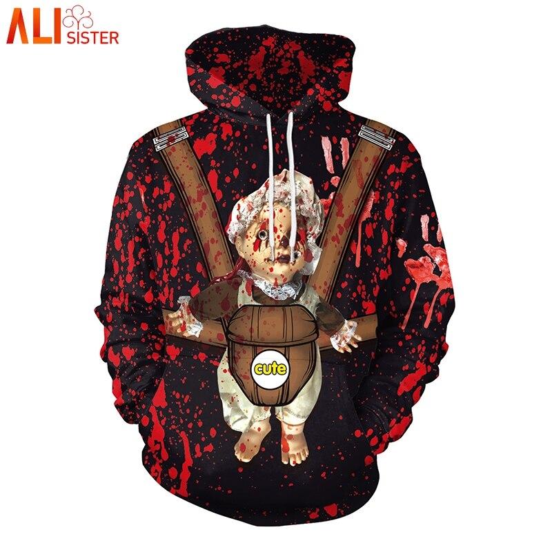 Alisister Blood Baby Horror Hoodies Sweatshirts Men Women Halloween 3d Print Tops Long Sleeve Jacket Jumper Tracksuit Pullover