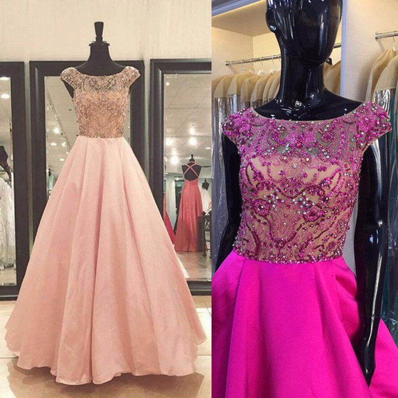 Luxury Vestido De Festa Elegant Satin A-Line Long Prom Gown Sexy Beaded Crystal Tops Dress For Wedding Party Custom Made