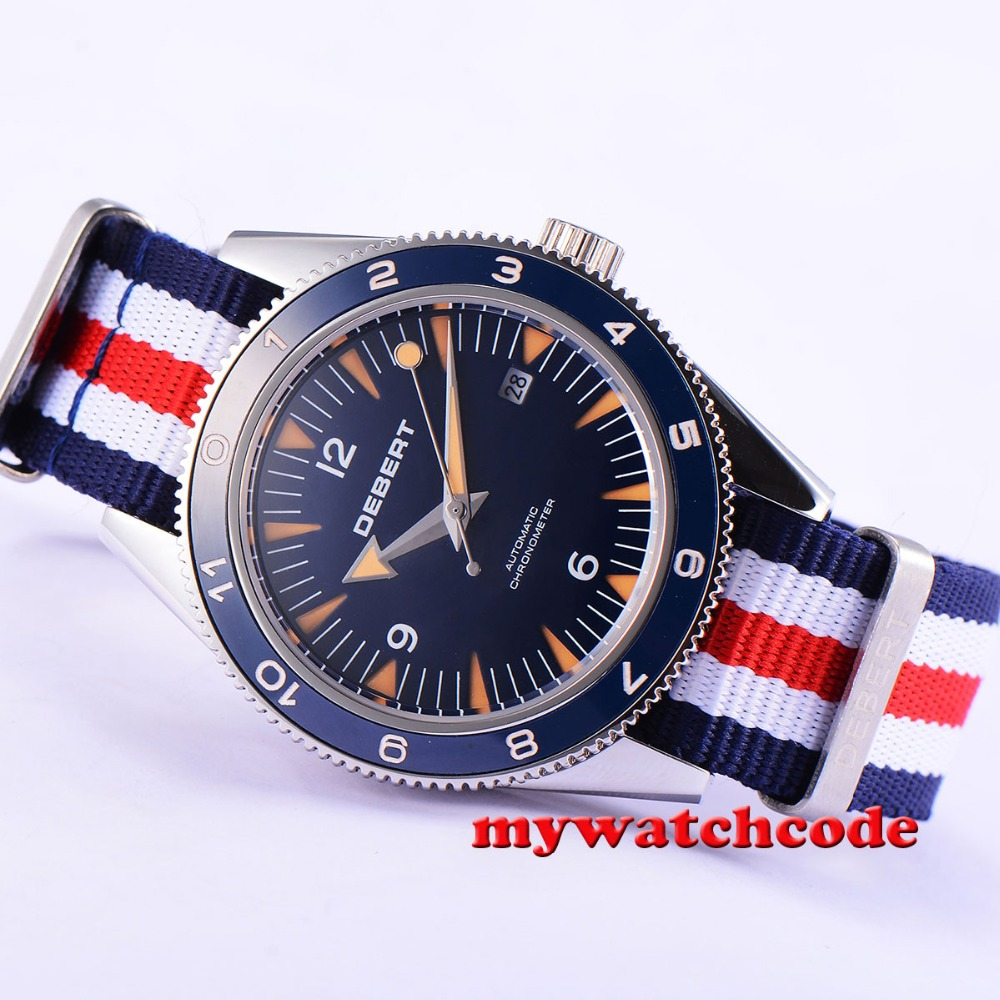 41mm debert blue dial ceramic bezel sapphire glass miyota Automatic mens Watch13 цена и фото